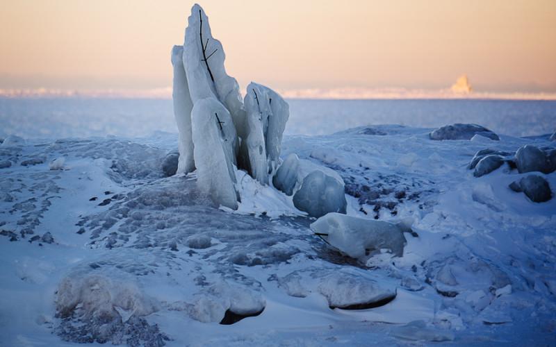 frozen lake huron sunrise